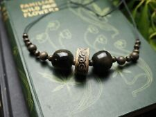Gold Sheen Obsidian & Ceramic Spiral Necklace  - Pagan, Witchcraft, Gemstone