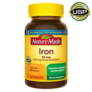 Nature Made Iron 65 mg - 365 Tablets Dietary Supplement  Expiration 04/2023