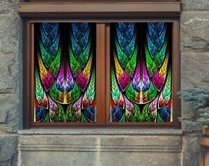 3D Church Man I27 Window Film Print Sticker Cling Stained Glass UV Block Ang