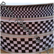 """Black & White Checkered 1""""  grosgrain ribbon the listing is for 5 yards total"""