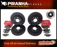 Astra VXR 2.0T 16v 05- Front Rear Brake Discs Black Dimpled Grooved Mintex Pads