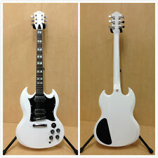 Haze 271WH SG Style Solid Body Electric Guitar, White+Free Gig Bag,Strap,Picks