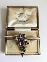 Contemporary Artisan Studio Craft Hallmark 925 Silver PB Amethyst Brooch 10.17g