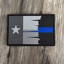 Subdued Tattered Texas State Flag Thin Blue Line PVC Patch