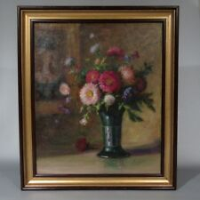 Vintage French Oil Painting, Bouquet of Flowers Vase Portrait of a Woman, Signed