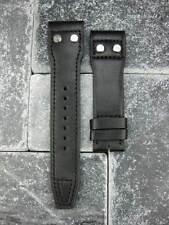 New 22mm IWC Black CALF Leather Strap watch Band Rivet BIG PILOT Black Regular