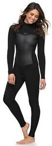 Roxy Women's Syncro Series 4/3mm Back Zip Full Wetsuit - Black - New