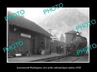 OLD POSTCARD SIZE PHOTO OF LEAVENWORTH WASHINGTON THE RAILROAD DEPOT c1920