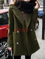 Lady Womens Wool Coat Double-breasted Slim Fit Peacoat Lapel Coats Army Outwear