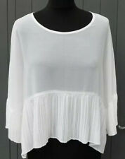 Ladies White PLEATED Semi Sheer Blouse/Top - Size 12-14