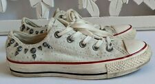 RARE🔥 Converse All Star Chuck Taylor STUDS White Silver Distressed Sneaker Sz 6