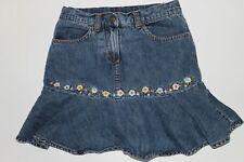 Gymboree Equestrian Club Jean Skirt Skort Embroidered Flowers Size 8 EUC