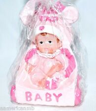 Girl's Birthday Candle Baby Shower Cake Topper Baby n Stroller Pink Party Supply