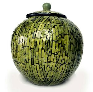 Mother of Pearl Mosaic Green Container Canister Jar Urn