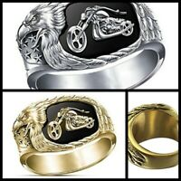 Cool Men's 925 Silver Eagle Motorcycle Ring Women Bride Wedding Party Jewelry US