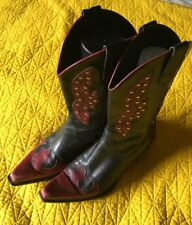 BCBG Girl COWBOY BOOTS RED Black Leather Western Bootie Cute SZ 6.5 36.5 Studded
