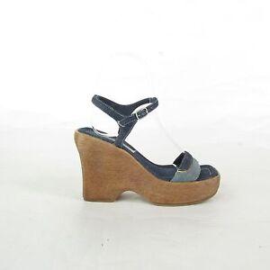 Vtg 90s Y2K Denim Strappy Chunky Faux Wood Platform Ankle Strap Heels Sz 5 1/2