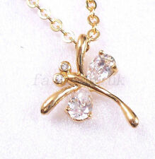 18K Yellow Gold Plated Clear CZ Birthday Valentine Dragonfly Pendant Necklace