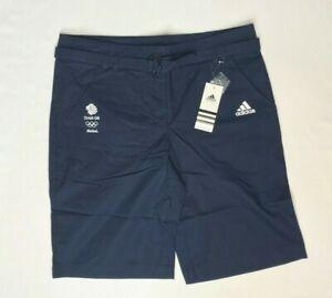 Adidas Womens Cargo Shorts Blue Olympic Team GB Cotton Bermuda Summer M L XL 2XL