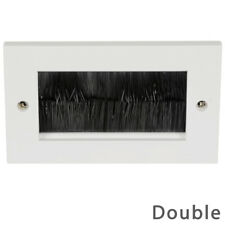White Double Gang Brush Wall Plate Cable Tidy Entry TV Outlet