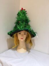 Green Xmas Christmas Tree Hat With Tinsel Costume Party Headgear