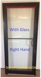 GLASS Storefront Door RH-offset pivot Bronze Anodized 3X7 w-GLASS & Closer