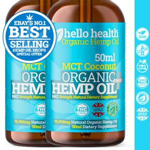 2 x HELLO HEALTH SUPPLIES 🍃 Natural Organic MCT Coconut Hemp Oil Drops 🍃 50ml