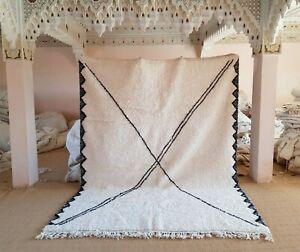 """Moroccan rug Beni Ourain 9'6""""x 7'4"""" ft Wool Berber Moroccan carpet handmade"""