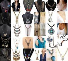 Fashion Women Bib Jewelry Choker Crystal Statement Long Chain Pendant Necklace
