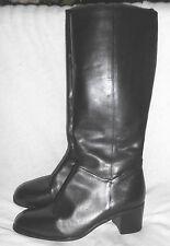 "Naturalizer Boot Size 9 N Vintage Brown Leather 2+"" Heel Round Toe Knee Dress"