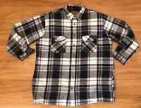 St. Johns Bay Quilted Line Flannel Shirt Jacket Mens Black Gray Plaid 2XL TALL