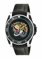Gucci Dive Embroidered Tiger Motif Dial Men's Rubber  Watch YA136318