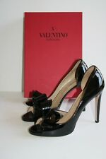 $845 VALENTINO GARAVANI d'Orsay Couture Bow Black Patent Leather Pump 41 /11