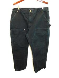Carhartt 40 x 30 Black Firm Duck Double Front Dungaree Pants B01 USA Made Vtg