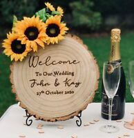 Personalised Welcome To Our Wedding Party Sign Tree Slice Stand Sunflower Mr Mrs
