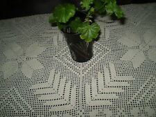 Vintage old hand-knitted Figural tablecloth ecru