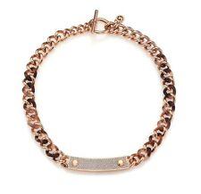 MICHAEL KORS MKJ4323 Blush Tortoise Rose Gold Crystal Glitz Chain Necklace