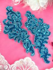 """JB257 Turquoise Sequin Beaded Appliques MIRROR PAIR Scroll Dance Patch 7.5"""""""