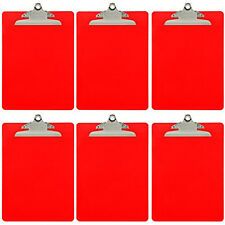 Plastic Clipboard Opaque Color Letter Size Standard Clip (Pack of 6) (Red)