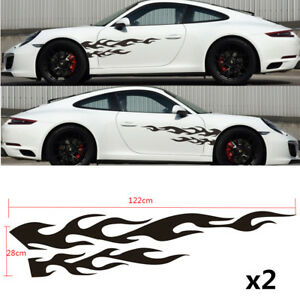 """2x Car Racing 48"""" Black Flame Graphics Side Body Vinyl Decal Stickers Universal"""