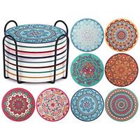 Set of 8 Coaster Drinks Absorbent Mandala Ceramic Coasters Cork Base Metal NEW
