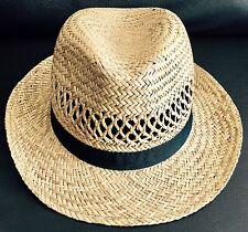 Unisex 100% English Natural Straw Summer Hat/Panama/Fedora/Trilby Size 58cm
