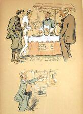 Lithographie  de Sem,  Marchand de glace (recto), Le Mutuel à la pelouse (verso)
