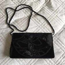 ORIENTAL Black Beaded Small Crossbody/Clutch Bag Floral Pattern Gatsby Style GC