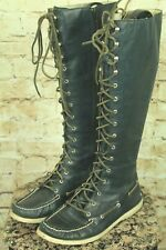 SPERRY TOP-SIDER WOMEN'S LEATHER TALL KNEE HIGH BLACK TALL BOOTS SIZE 9.5 VGC!