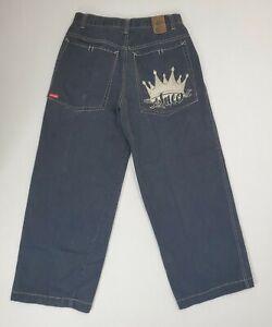 Vintage JNCO Men's Wide Leg Black Embroidered Crown Jeans Size 32x30 Actual