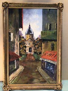 Signed Parisian City Scene Framed Oil Painting