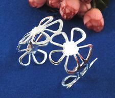 Fashion 925 Silver Hollow Flower Charm Cuff Bangle Bracelet Women Jewelry Gift