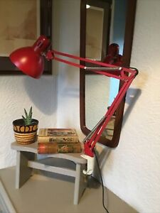 Vintage Red Adjustable Angle Desk Clamp Lamp #5273