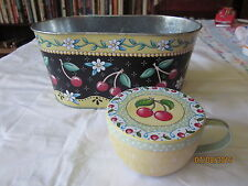 Mary Engelbreit tin cup with lid and tin planter both cherries motif